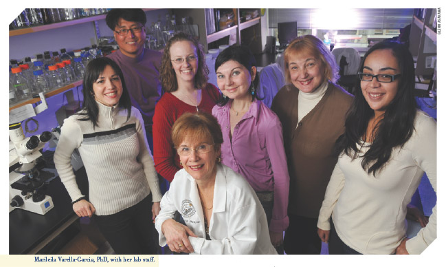 Marileila Varella-Garcia and members of her lab at the CU Cancer Center