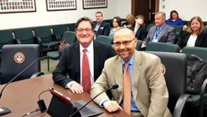 Rod Page (left), DVM, director of CSU's Flint Animal Cancer Center and Dan Theodorescu, MD, PhD, director of CU Cancer Center at the Colorado State Capitol Feb. 23. 2016