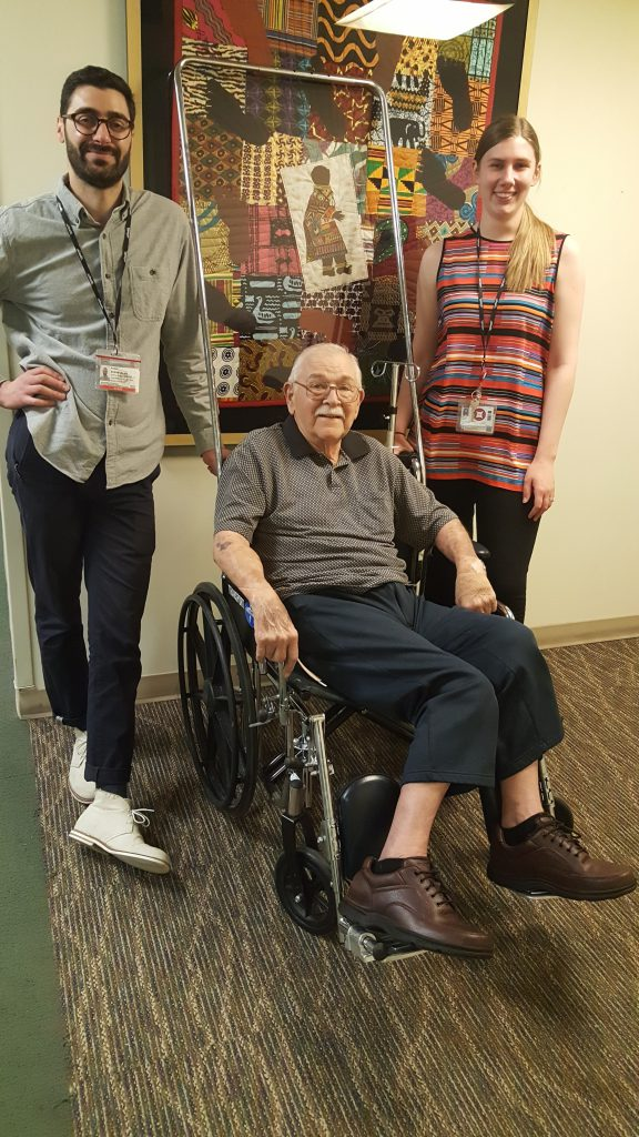 Charlie Ross with clinical research coordinators Ryan Scannura and Rachel Freeby